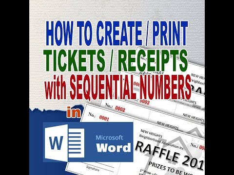 Raffle Tickets Sequential Numbering in MS Word