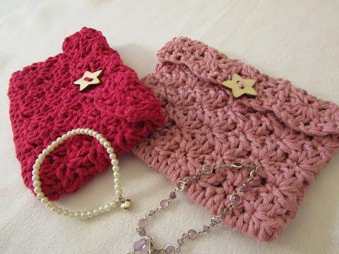 VERY EASY crochet mini shell stitch purse tutorial