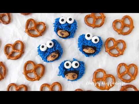 Cookie Monster Pretzels