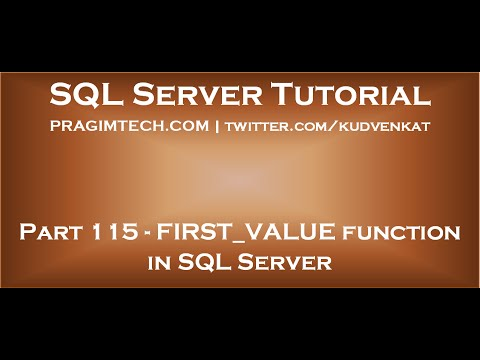 FIRST VALUE function in SQL Server