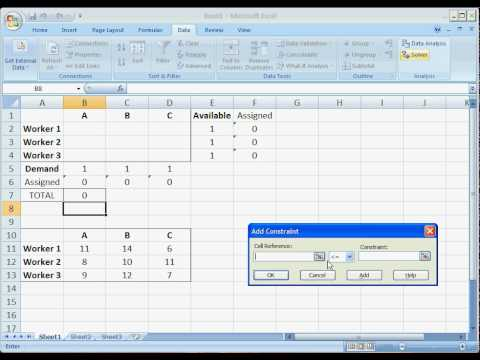 OR - MS Excel Solver _ Assignment Problem
