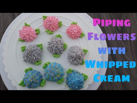 How To Pipe Hydrangea Flowers with Whipped Cream ~ Hydrangea,  Chrysanthemum