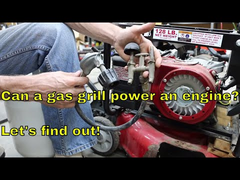 Can a gas (propane) grill power an engine?  Let's try it!