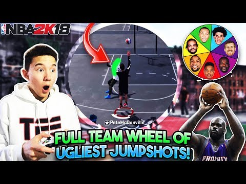 WHOLE TEAM WHEEL OF UGLY JUMPSHOTS CHALLENGE!! Secret Best Jumpshot in NBA 2K18!? (NBA 2K18 MyPark)
