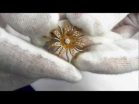Pin - Victorian Era (Circa 1890) 14k, Diamond and Seed Pearls