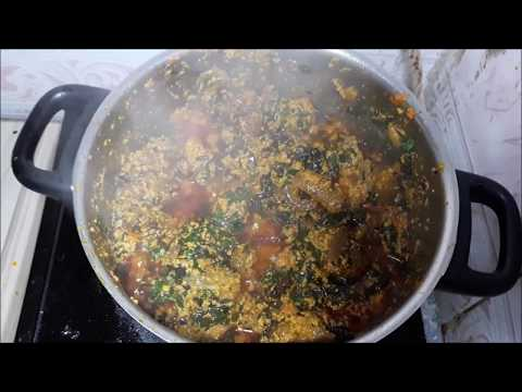 How To Make Egusi Soup+Bitterleaf  (Frying Method)