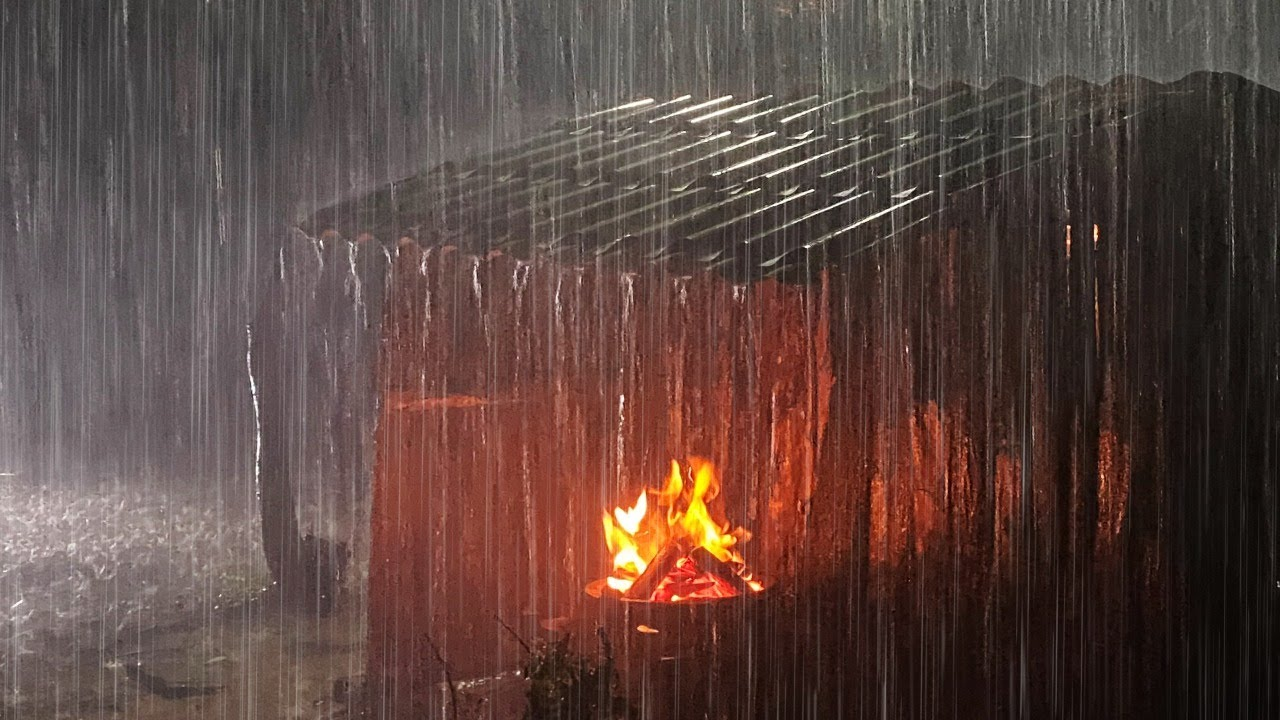 🔴 Beat Insomnia to Sleep Instantly, Heavy Rain, Campfire & Thunder Sounds for Sleeping, Help Relax