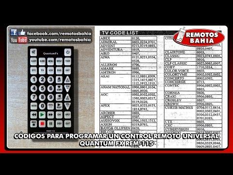 CÓDIGOS PARA PROGRAMAR CONFIGURAR UN CONTROL REMOTO UNIVERSAL JUMBO QUANTUM FX REM-115 REMOTOS BAHIA