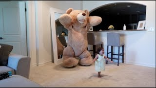Daddy Pranks Baby With Huge Teddy Bear