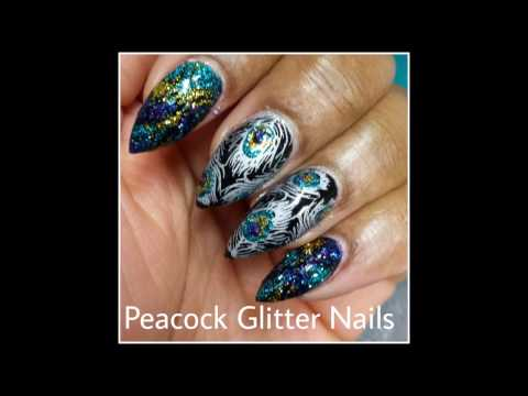 Glitter Nails----Peacock Feather Stamping Nail Art