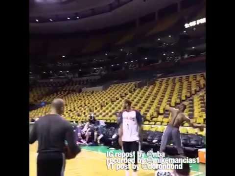 LeBron James Full Court One Handed Shot @ TD Garden