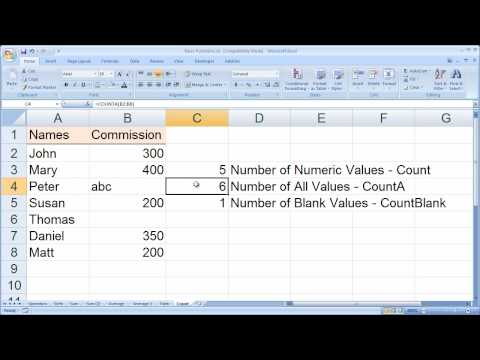 Using the Excel Counting Functions