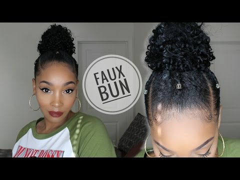 Curly Faux Top Knot Bun on Short Natural Hair 😍