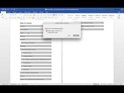 PI Formatting Video Pt12: Updating Table of Contents (Word for Mac 2016)