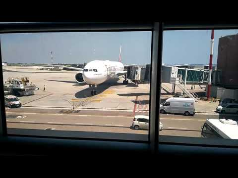Boeing 777 approaching the gate in Venice Airport Marco Polo