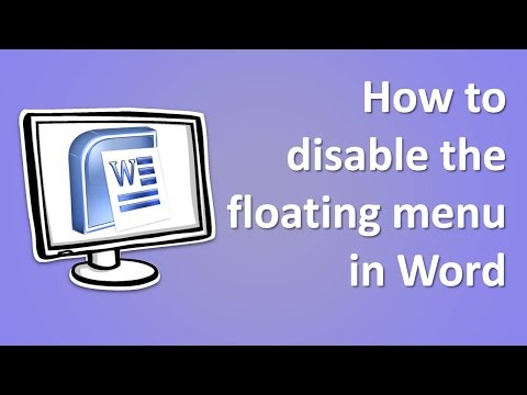 How to disable the floating menu in Word