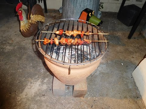 Chicken Shish Kabobs on Flower Pot BBQ
