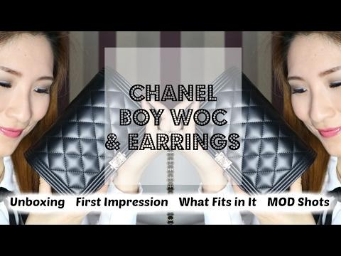 99691bbe0c75 CHANEL BOY WALLET ON CHAIN (WOC) & EARRINGS | UNBOXING | WHAT FITS IN