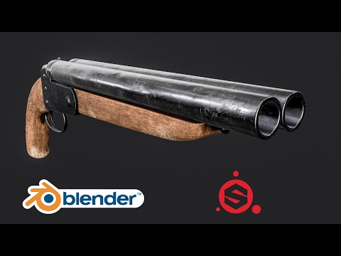 Speed Modelling a Double Barrelled Shotgun [Blender + Substance Painter]