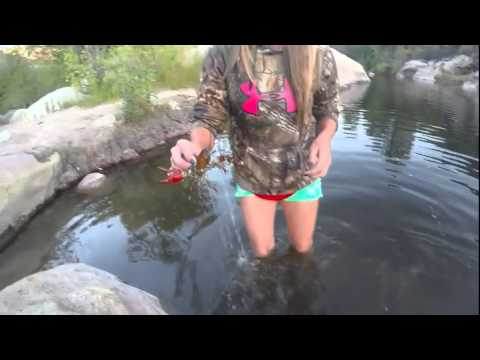 Catching crawdads in the river!