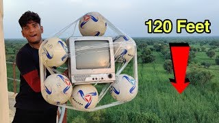 Dropping TV with Football From 120 Feet Height || Footballs With TV vs 120 Feet Water Tank