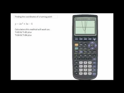 Using the TI-84 to calculate the coordinate of a turning point