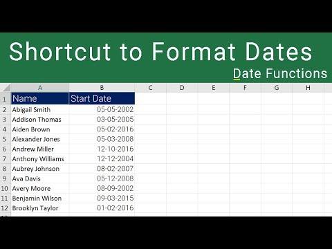 Excel Date Format Shortcut