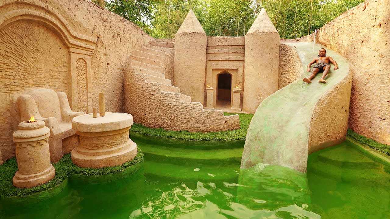 105 Days Building The Most Amazing Underground Water Slide Temple House