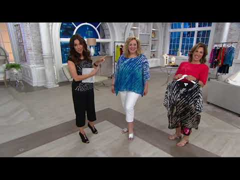 Susan Graver Lined Printed Mesh Scarf Top on QVC