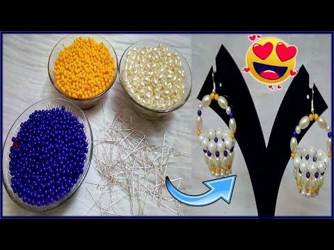 #157 How To Make Pearl Beaded Flower Basket Earrings    Diy    Jewellery Making    Jhumka Making