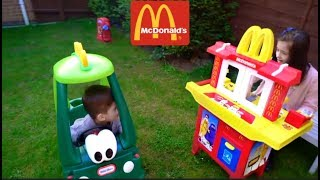 Kids Pretend Play with Kitchen Toy Playset and Cozy Coupe Drive Thru at McDonald
