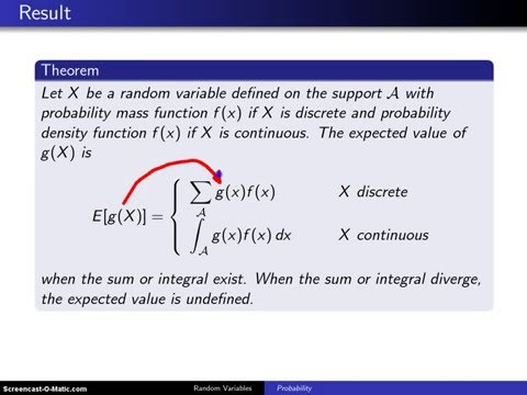 Expectation of a function of a random variable -- Example 1