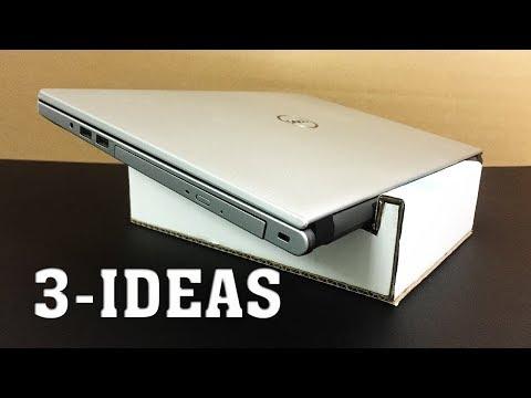 3 Creative ideas ways to save money - Cardboard laptop stand   Diy laptop stand