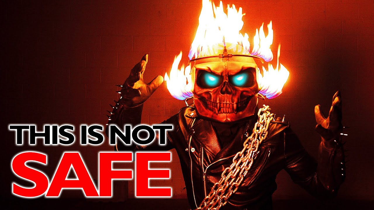 We made a FLAMING GHOST RIDER HELMET!