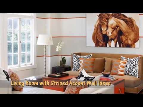 Living Room With Striped Accent Wall Ideas