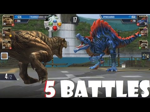5 Dinosaur Battles in JURASSIC WORLD: THE GAME - No Talking, just Fighting Roaring Dinos!