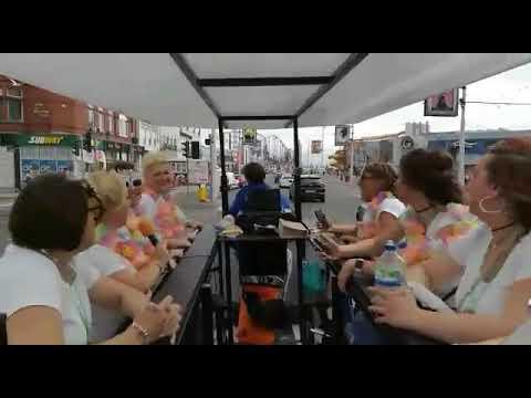 Crazy karaoke pedal tour, hen party bus Blackpool