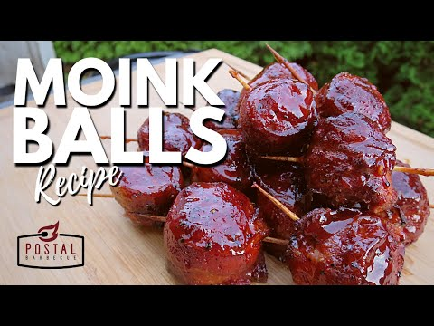 Moink Balls Recipe - Bacon Wrapped Meatballs on the Grill - Easy Appetizer