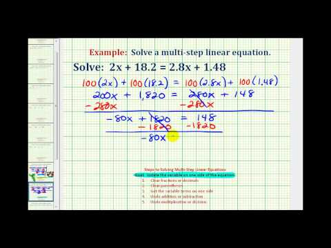 Ex:  Solve a Linear Equation With Decimals and Variables on Both Sides