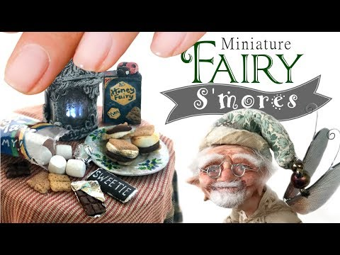 The S'mores Maker, A Fairy Garden Fairy Tale & Tutorial / DIY Miniature Polymer Clay S'mores