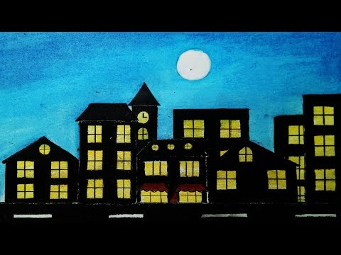 How to draw Scenery of City Moonlight .Step by step (easy draw)
