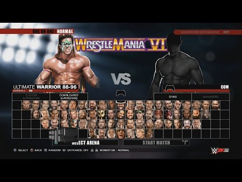 WWE 2K15 Character Select Screen Including All DLC Packs Roster