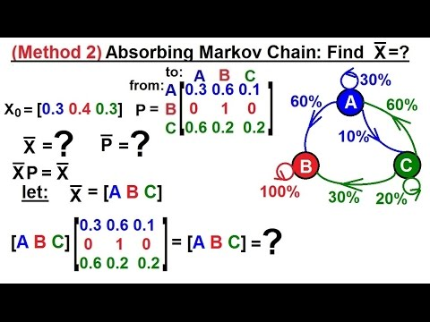 Prob & Stats - Markov Chains: Method 2 (34 of 38) Finding the Stable State Matrix