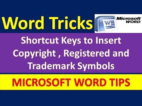 Shortcut Keys to Insert Copyright , Registered & Trademark Symbols in Microsoft Word [Urdu / Hindi]
