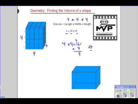 Geometry, volume of a shape by length x width x height