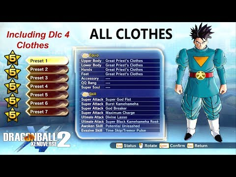 DBXV2: All 5 Stars Clothes with Stats including Dlc Pack 4 Clothes - Male Saiyans