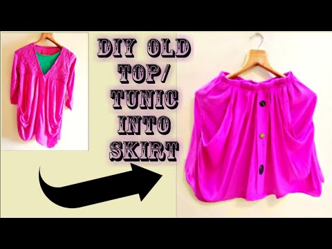DIY: Convert Old Top/Dress Into Skirt in 10 Minutes/Reuse Old Tops & Tunic Dress(Hindi)