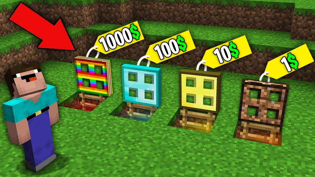 Minecraft NOOB vs PRO:WHICH RAREST TRAPDOOR WILL NOOB BOUGHT FOR 1000$ VS 100$ VS 10$ VS 1$?trolling