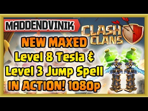Clash of Clans - NEW MAXED Level 8 Tesla and Level 3 Jump Spell IN ACTION! (1080p HD)