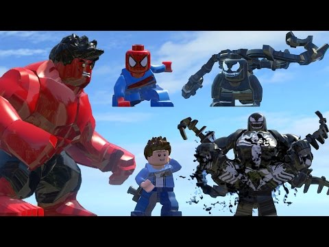 Spiderman (Transformation) Vs Venom (Transformation) Vs Red Hulk - Lego Marvel Super Heroes Game